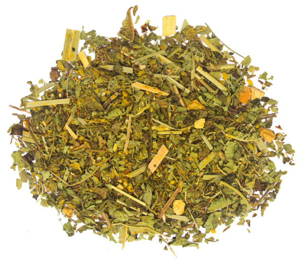 Relaxing bouquet of lemony herbs, ginger, rooibos and cayenne for added spice